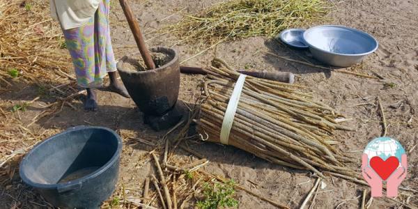 Il lavoro delle donne in Senegal cereali e un mortaio