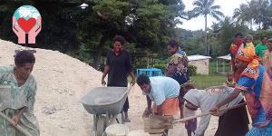 Lavori in corso per la chiesetta isola vanuatu